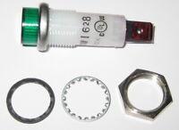 Green w/ Steel Bezel Panel Mount Round Indicator LED Light - Wamco 6V - .1 Watt