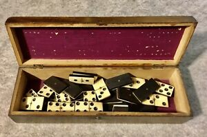 Set Of Antique Dominos Bone and Ebany Set Of Sixes 28 Pieces In Cribbage Box