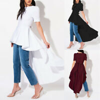 ZANZEA 8-24 Women Tunic Hi-Low Long Top Tee Shirt Belted Peplum High Low Blouse