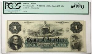 Providence, RI Bank of America $1 One Dollar 18xx Unissued Remainder PCGS 65PPQ