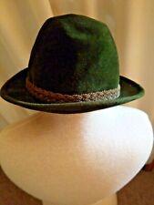 Vintage 1960s Stetson Green Felt Fedora Hat Men's Size 7 1/8