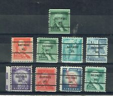 US:1954 9 Liberty issues with precancels (61 or 71) from BALTIMORE MD