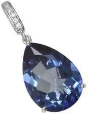 Mystic Quartz Blue Gemstone Pear Gorgeous Sterling Silver Pendant + Chain