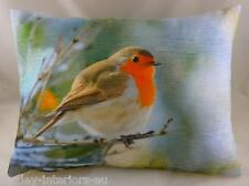 "Robin Velvet Chenille Cushion Cover Evans Lichfield British Birds DP302 17""x13"""