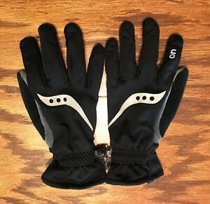 SAUCONY Running Gloves Mens Size Small Black Gray Silver Reflective Winter Warm!