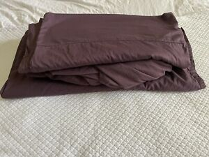 Coyuchi Organic Cotton King Fitted, Flat, & 4 King Pillow Cases In Purple.
