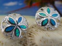 HIGH POLISHED STERLING SILVER/ BLUE OPAL INLAY SAND DOLLAR POST EARRINGS