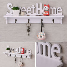 Practical Wooden Wall Mounted Sweet Home Hanging Hanger Hooks Clothes Key Holder