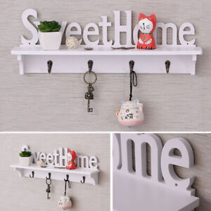 Hooks Wooden Wall Mounted Coat Rack with Shelf Clothes Hat Key Hanger Decor