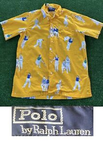 Vintage Polo Ralph Lauren 1992 Rare P Tennis All Over Print Shirt USA Made 90s