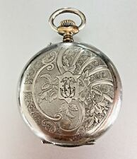 Antique Remontoir Pocket Watch Cilindre 10 rubies Silver Tone Engraved Case