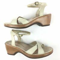 Dansko Sandals US 10.5 - 11 EU 41 Ivory Ankle Strap leather wedge heel shoes