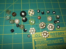 Lot of 22 Vintage 7- Matching Black plastic metal w/ Rhinestone Buttons other