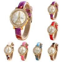 Fashion Women' Watch Eiffel Tower Crystal Leather Bracelet Quartz Wrist Watches