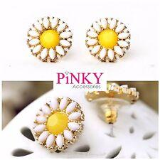 Daisy Flower Earrings Studs Summer Festival Boho Yellow White Quality UK Seller
