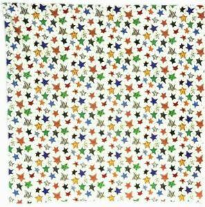 "Bandanna with Stars on Off-White 100% Cotton #400 Handmade 21"" X 21"""