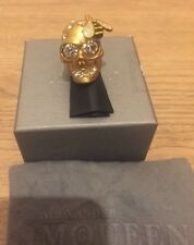 Alexander McQueen Gold Tone Bee and Skull Brass Cocktail Ring Size 11