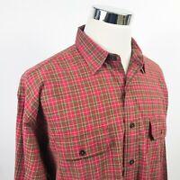 Polo Ralph Lauren Mens XL GI Shirt Vintage Button Front Red Green Plaid Cotton