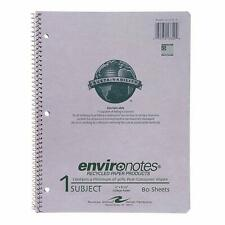 Recycled Spiral Notebook 8 1/2 x 11 Inches College Ruled 80 by Environotes