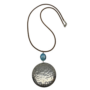 Silpada Sterling Silver & Turquoise Leather Cord Hammered Necklace N0884