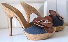 Sergio Zelcer Womens Demin Blue Brown Flower Stiletto Cork Heels Mules 10 UK 7.5