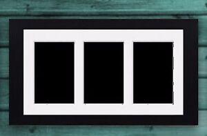 "Multi Aperture Picture Frame 3 10"" x 8"" Photo Frame Black D.Oak Oak White Mount"