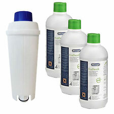 Delonghi Descaler 500ml x 3 +  ECAM Water Filter Kit fits Coffee Maker Machines
