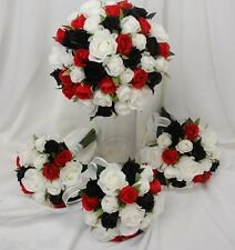 SILK WEDDING BOUQUET BLACK RED WHITE ROSE POSY FLOWERS ROSES FLOWER ST KILDA SET