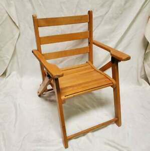 """Vintage Small Children's Foldable Wooden Lawn Deck Chair Solid Wood 20"""""""