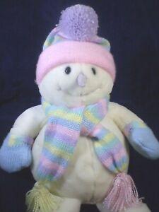 "Animal Alley Snowman Plush 20"" White Christmas Pink Pastel Hat Scarf Mittens"