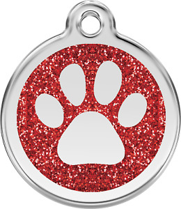 Glitter Paw Print | Red | ID Tag - Free Shipping & Engraving// Name Cat Dog