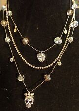 Betsey Johnson Illusion Crystal Skull Princess Multi-Chain Necklace New MSRP $48