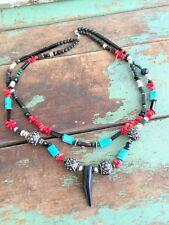 Vintage Double Strand Beaded Boho Necklace Black Glass Coral Turquoise Gem Stone