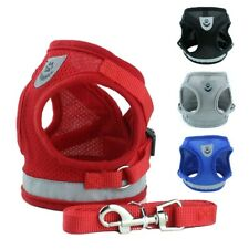 Small Dog Cat Harness and Walking Leads Set Pet Reflective Breathable Mesh Vest