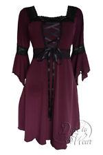 Dare to Wear Victorian Gothic Plus Size Renaissance Corset Dress in Burgundy