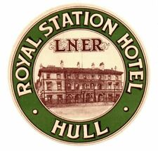 More details for l n e railway luggage label - royal station hotel - hull