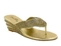 Women's Low Heel Wedge Diamante Toe Post Ladies Sparkly Dressy Party Sandals 3-8