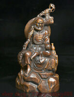 "7.4 ""bois de buis chinois sculpté Arhat Damo Bodhidharma Dharma Bouddha Statue"