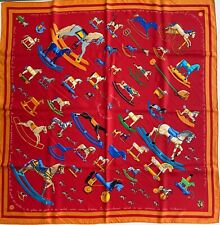 Hermes Authentic Silk 90cm Square Scarf Raconte-Moi Le Cheval Rocking Horse