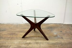 Vintage Adrian Pearsall Craft Associates Walnut and Glass End Table