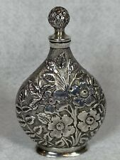 Antique London China Export Sterling Silver 925 Embossed Snuff Bottle RARE 1888