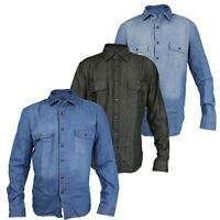 JBC Mens Classic Long Sleeve Denim Shirts S-3XL Black, Stonewash, Lightwash
