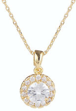 Solest Halo Cluster Yellow Gold Plated CZ Necklace/Pendant Bridal Gift Jewellery