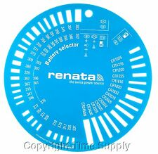 RENATA BATTERY SIZE SELECTOR / SIZE CHART FOR 1.5 & 3V