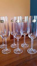 Six Bohemia Crystal Champagne Flutes / Glasses