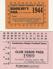 2 CANTERBURY, NEW ZEALAND RUGBY SEASON PASS / TICKETS - 1944 & 1989