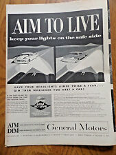 1958 GM General Motors Ad Headlidghts   Aim to Live
