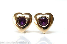 9ct Gold Amethyst Heart Stud earrings Gift Boxed Made in UK