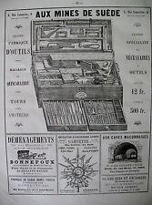 PUBLICITE DE PRESSE AUX MINES DE SUEDE OUTILS MAGASIN QUINCAILLERIE AD 1866