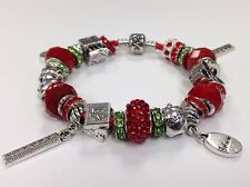 European Charm Bracelet w/Glass Crystal Tibetan Silver Beads School Teacher Gift